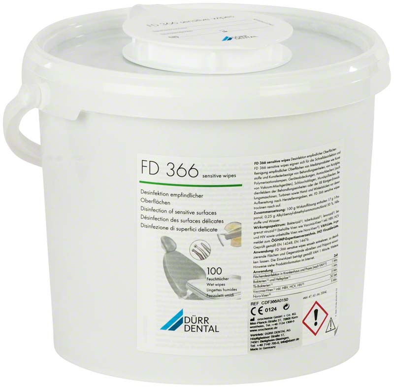 Dürr FD 366 sensitive 100 wipes (20 x 30 cm) in dispenser box