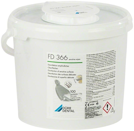 [016366] Dürr FD 366 sensitive 100 wipes (20 x 30 cm) in dispenser box